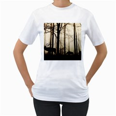 Forest Fog Hirsch Wild Boars Women s T-Shirt (White) (Two Sided)
