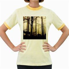 Forest Fog Hirsch Wild Boars Women s Fitted Ringer T-Shirts
