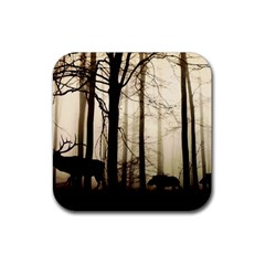 Forest Fog Hirsch Wild Boars Rubber Coaster (Square)