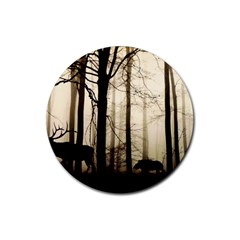 Forest Fog Hirsch Wild Boars Rubber Round Coaster (4 pack)