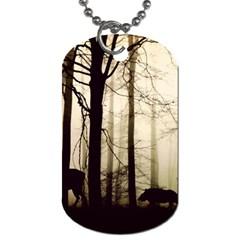 Forest Fog Hirsch Wild Boars Dog Tag (One Side)