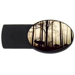 Forest Fog Hirsch Wild Boars USB Flash Drive Oval (2 GB)