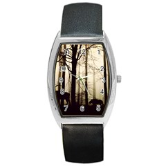 Forest Fog Hirsch Wild Boars Barrel Style Metal Watch