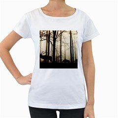 Forest Fog Hirsch Wild Boars Women s Loose-Fit T-Shirt (White)