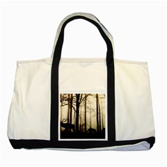 Forest Fog Hirsch Wild Boars Two Tone Tote Bag