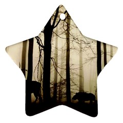 Forest Fog Hirsch Wild Boars Star Ornament (Two Sides)
