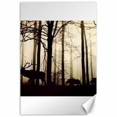 Forest Fog Hirsch Wild Boars Canvas 20  x 30