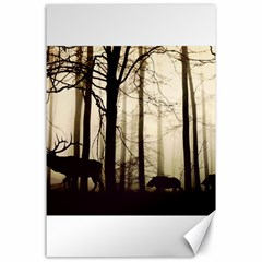 Forest Fog Hirsch Wild Boars Canvas 24  x 36