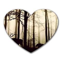Forest Fog Hirsch Wild Boars Heart Mousepads