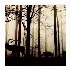 Forest Fog Hirsch Wild Boars Medium Glasses Cloth (2-Side)