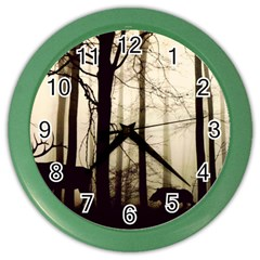 Forest Fog Hirsch Wild Boars Color Wall Clocks