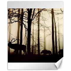Forest Fog Hirsch Wild Boars Canvas 11  x 14
