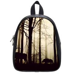 Forest Fog Hirsch Wild Boars School Bags (Small)