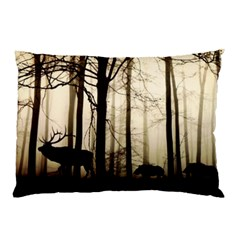 Forest Fog Hirsch Wild Boars Pillow Case (Two Sides)