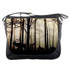 Forest Fog Hirsch Wild Boars Messenger Bags