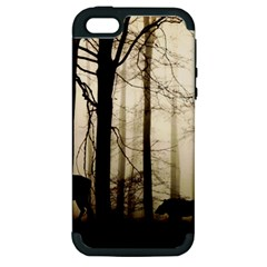 Forest Fog Hirsch Wild Boars Apple iPhone 5 Hardshell Case (PC+Silicone)