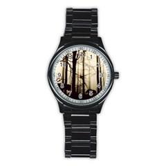 Forest Fog Hirsch Wild Boars Stainless Steel Round Watch
