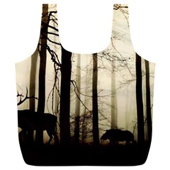 Forest Fog Hirsch Wild Boars Full Print Recycle Bags (L)