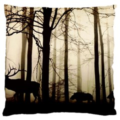 Forest Fog Hirsch Wild Boars Large Flano Cushion Case (One Side)