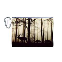Forest Fog Hirsch Wild Boars Canvas Cosmetic Bag (M)