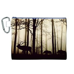 Forest Fog Hirsch Wild Boars Canvas Cosmetic Bag (XL)