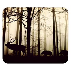 Forest Fog Hirsch Wild Boars Double Sided Flano Blanket (Small)