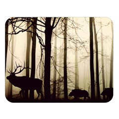 Forest Fog Hirsch Wild Boars Double Sided Flano Blanket (Large)