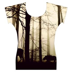 Forest Fog Hirsch Wild Boars Women s Cap Sleeve Top