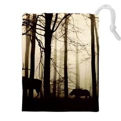 Forest Fog Hirsch Wild Boars Drawstring Pouches (XXL)