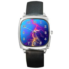 Lightning colors, blue sky, pink orange yellow Square Metal Watch