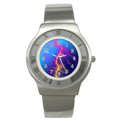 Lightning colors, blue sky, pink orange yellow Stainless Steel Watch