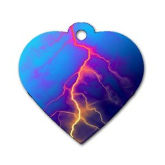 Lightning colors, blue sky, pink orange yellow Dog Tag Heart (One Side)