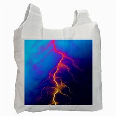 Lightning colors, blue sky, pink orange yellow Recycle Bag (Two Side)