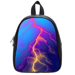 Lightning colors, blue sky, pink orange yellow School Bags (Small)