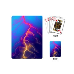 Lightning colors, blue sky, pink orange yellow Playing Cards (Mini)