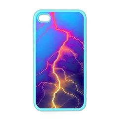 Lightning colors, blue sky, pink orange yellow Apple iPhone 4 Case (Color)