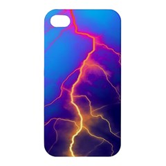 Lightning colors, blue sky, pink orange yellow Apple iPhone 4/4S Premium Hardshell Case
