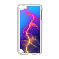 Lightning colors, blue sky, pink orange yellow Apple iPod Touch 5 Case (White)