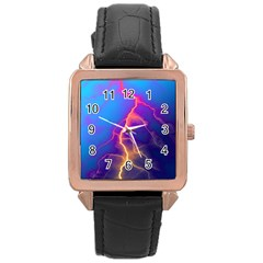 Lightning colors, blue sky, pink orange yellow Rose Gold Leather Watch