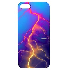 Lightning colors, blue sky, pink orange yellow Apple iPhone 5 Hardshell Case with Stand