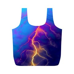 Lightning colors, blue sky, pink orange yellow Full Print Recycle Bags (M)