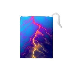 Lightning colors, blue sky, pink orange yellow Drawstring Pouches (Small)