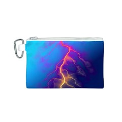 Lightning colors, blue sky, pink orange yellow Canvas Cosmetic Bag (S)