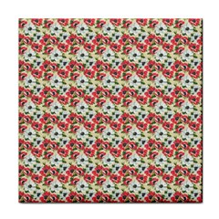 Gorgeous Red Flower Pattern Tile Coasters