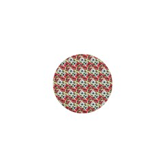 Gorgeous Red Flower Pattern 1  Mini Buttons