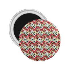 Gorgeous Red Flower Pattern 2.25  Magnets