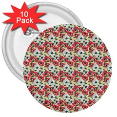 Gorgeous Red Flower Pattern 3  Buttons (10 pack)