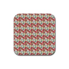 Gorgeous Red Flower Pattern Rubber Coaster (Square)