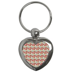 Gorgeous Red Flower Pattern Key Chains (Heart)