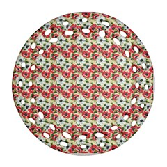 Gorgeous Red Flower Pattern Ornament (Round Filigree)